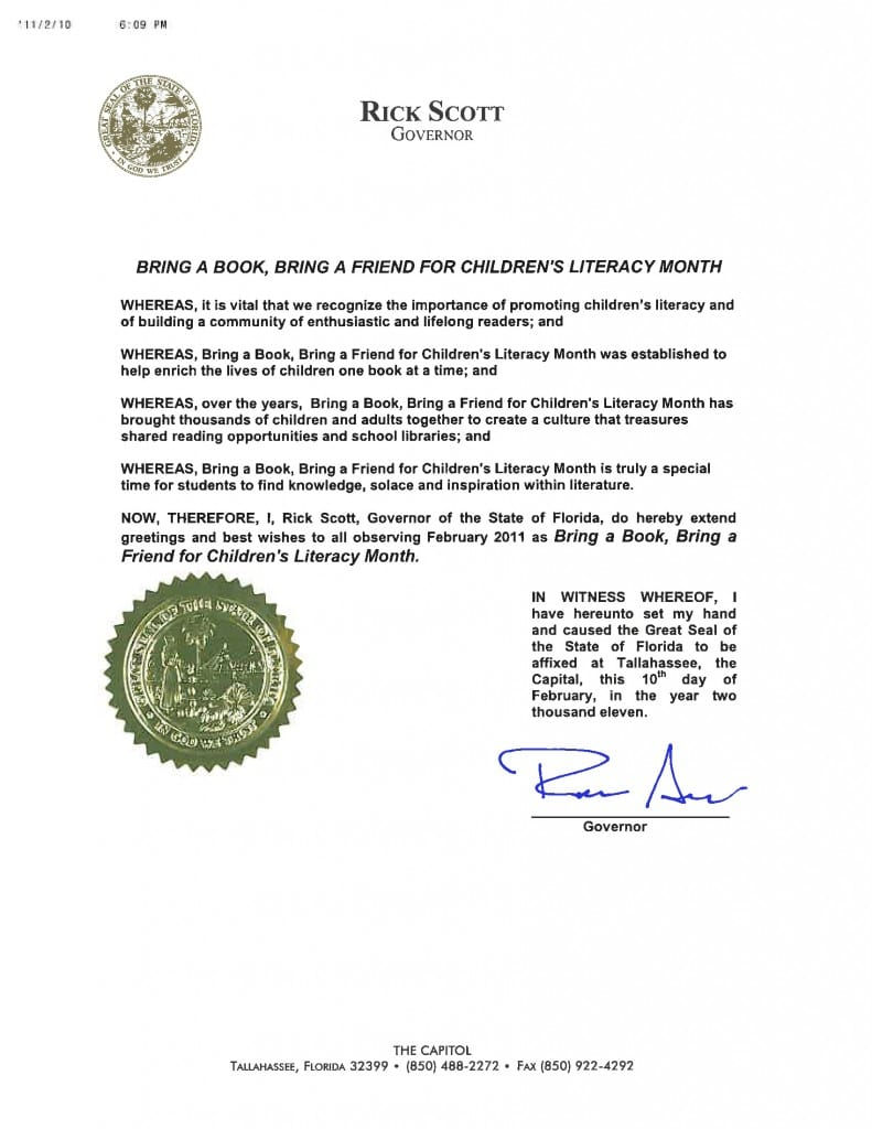 GovernorRickScott_Proclamation_BringABookBringAFriendForChildrensLiteracy_Feb11_