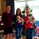 Clawson Holiday Photo - Patrick Erin Karen with pets