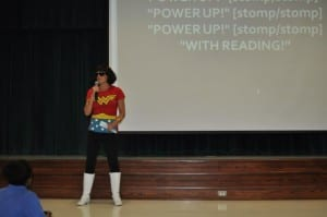 """Power Up With Reading"" Pep Rally held at Golden Terrace Elementary School by media specialists Tiffany Weeks"