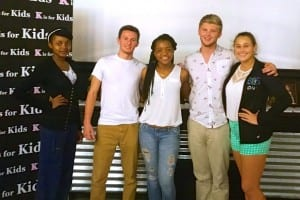 DOSA 2014-15 at K is for Kids Top Leaders Meeting at ITZ Media studio. Shown left to right: Rose Gelin, Lorenzo Walker Technology  High; Tyler Schult, Barron Collier High; Nedgie Paul, Palmetto Ridge High; Hadrien Roy, Barron Collier High; and Cameryn Anthony, Gulf Coast High (not shown, Krisha Mac, Lorenzo Walker Technical High).