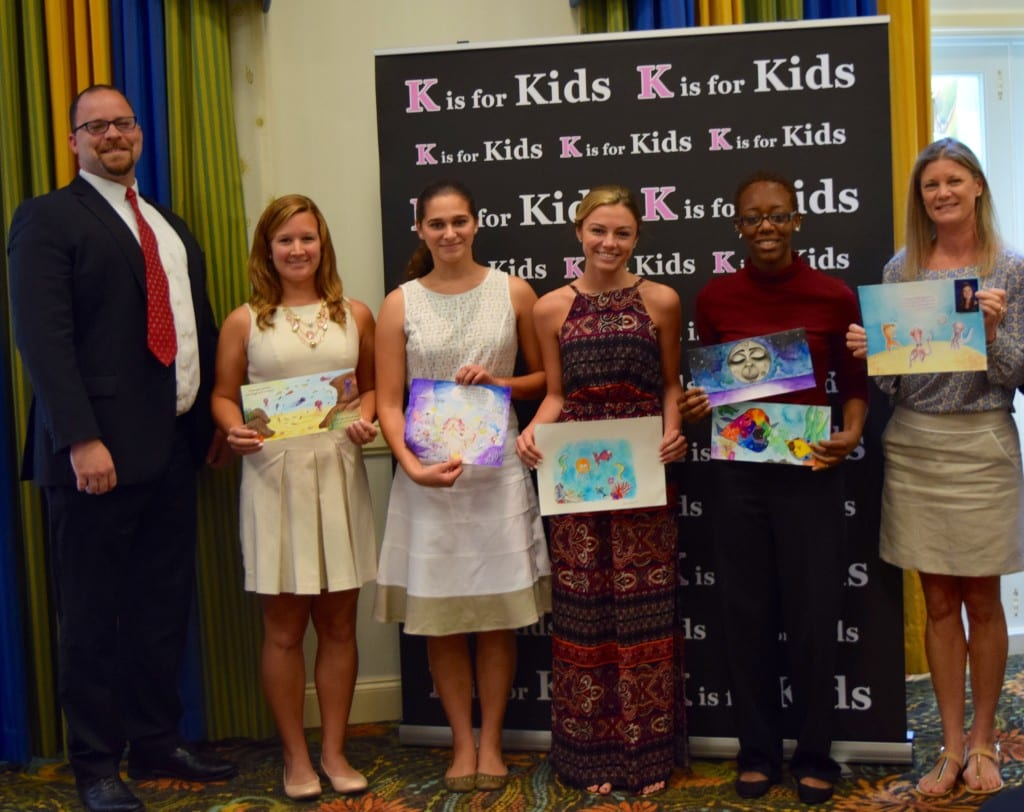 "L-R: Jason Kurek, one of the judges for K is for Kids' Teen Illustrator Contest for children's book ""White Moon, Purple Sea and the Underwater Circus"" stands with the five finalists - Kaileen McHugh, Palmetto Ridge High School graduate; Kristina Cortada, a junior at Lorenzo Walker Technical High School; Celine Consolo, a Barron Collier High School junior; Darice Pollard, Naples High School graduate; and standing in for her daughter Sarah Renfroe is her mother Beth."