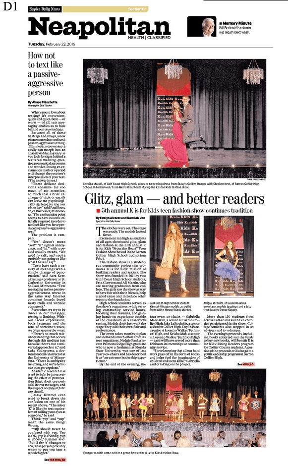 News - Naples Daily News - Teen Fashion Show 2016 - Cover Neapolitan D1 02-23-16