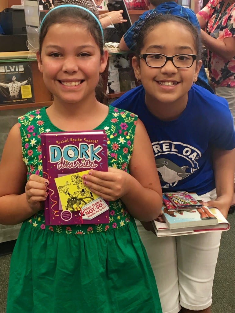 LOE BN girl green dress with Dork diaries with girl in LOE tee - ask Lori if her book is appropriate
